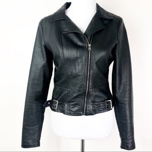 Rue 21 Faux Leather Jacket Size Medium Black Moto
